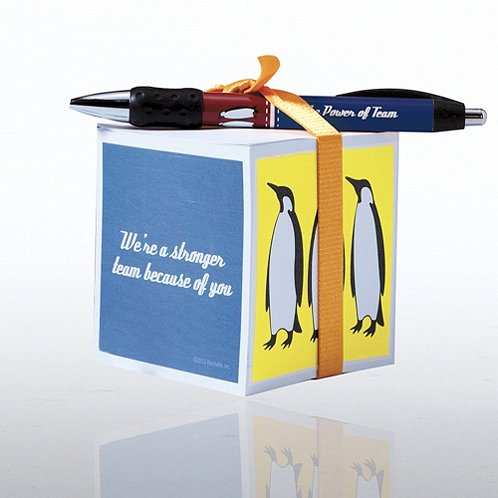 Penguin: Stronger Team Note Cube & Pen Gift Set