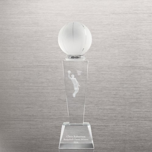 Backetball Crystal Sport Trophy - Male