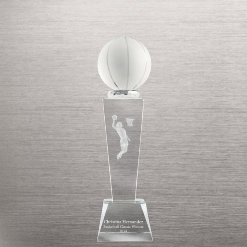 Backetball Crystal Sport Trophy - Female