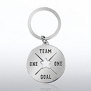 Nickel-Finish Key Chain -  One Team, One Goal