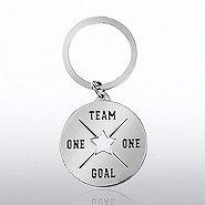 Nickel-Finish Key Chain -  One Team, One Goal
