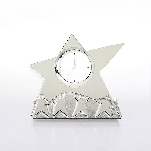 Team Star Silver Themed Desk Clock