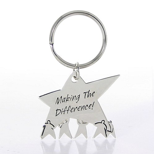 Team Star: Making the Difference Nickel-Finish Key Chain