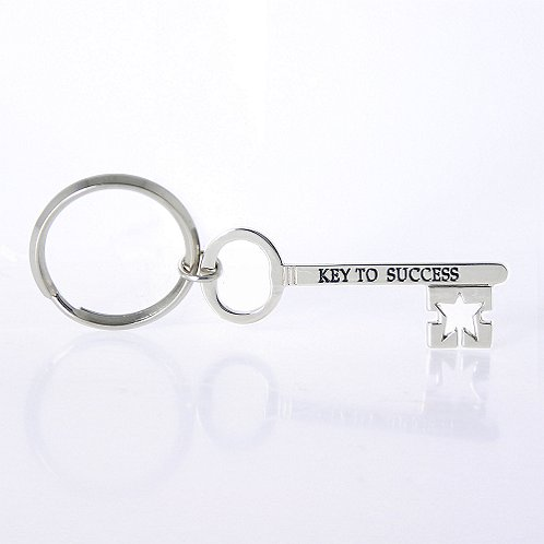 Key to Success Nickel-Finish Key Chain