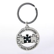 Nickel-Finish Key Chain - It Takes Teamwork