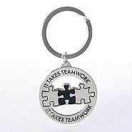 Nickel-Finish Key Chain - It Takes Teamwork