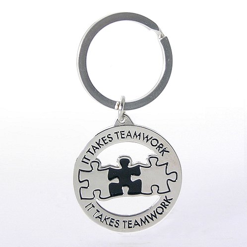 It Takes Teamwork Nickel-Finish Key Chain