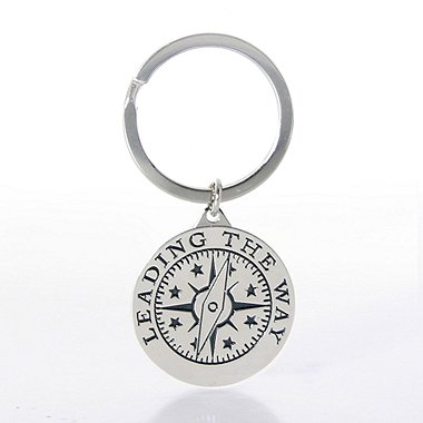 Nickel-Finish Key Chain - Compass: Leading the Way