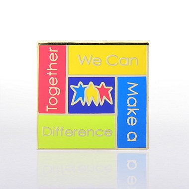 Lapel Pin - Together We Can Make a Difference - Square
