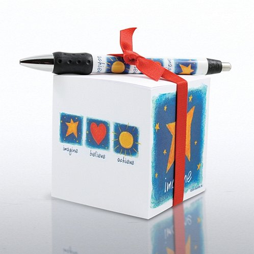 Imagine, Believe, Achieve Note Cube & Pen Gift Set
