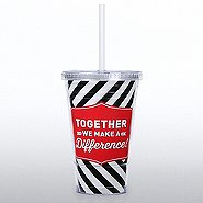 Twist Top Tumbler - Together We Make A Difference - Stripes