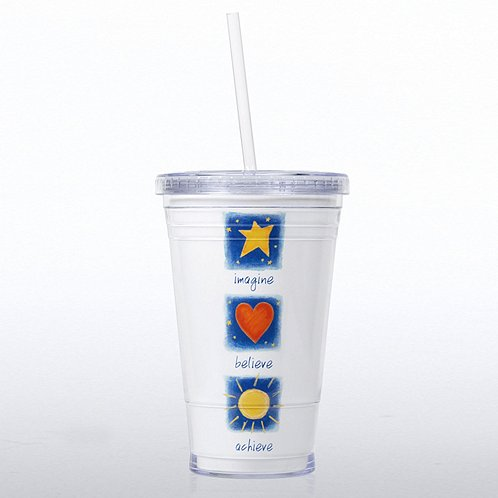 Imagine Believe Achieve Twist Top Tumbler