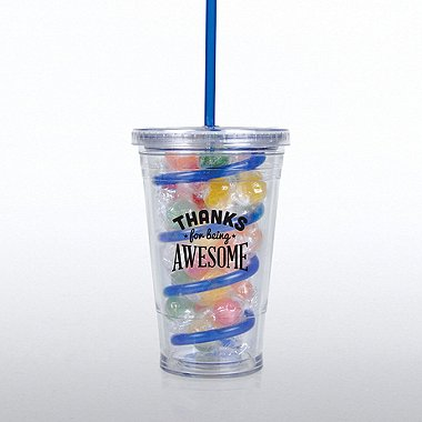 Candy-Filled Twist Top Tumbler - Thanks for Being Awesome