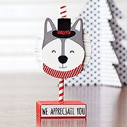 Sparkling Holiday Wooden Memo Clip -Husky -We Appreciate You