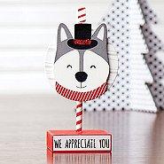 Sparkling Holiday Wooden Memo Clip -Husky -We Appreciate You