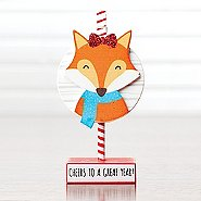 Sparkling Holiday Wooden Memo Clip - Fox - Great Year!