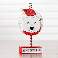 Sparkling Holiday Wooden Memo Clip - Polar Bear - My Boss