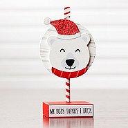 Sparkling Holiday Wooden Memo Clip - Polar Bear - My Boss