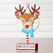Sparkling Holiday Wooden Memo Clip - Reindeer - Thanks