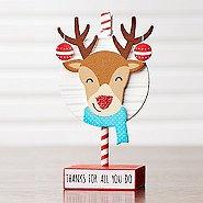 Sparkling Holiday Wooden Memo Clip - Reindeer - Thanks