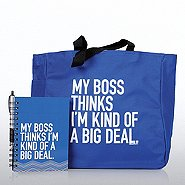 Journal, Pen & Tote Gift Set - My Boss Thinks I'm a Big Deal