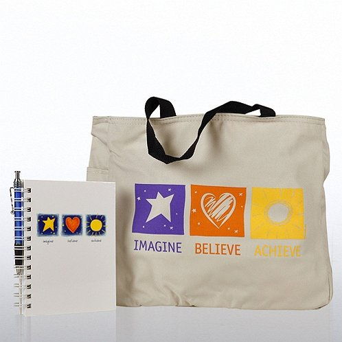 Imagine, Believe, Achieve Journal, Pen & Tote Gift Set
