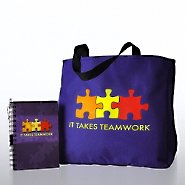 Journal, Pen & Tote Gift Set - It Takes Teamwork