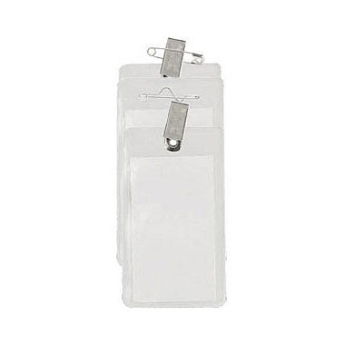 Clear Vinyl Badge Holder - Vertical Credit Card