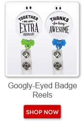 Googly-Eyed badge reels. Shop now button