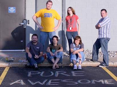 Baudvillians with their completed chalk art.