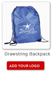Promotional Product Drawstring Backpack, Add your logo button
