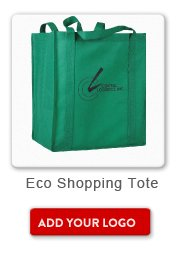 Promotional Product Eco Shopping Tote, Add your logo button