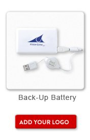 Promotional Product Back Up Battery, Add your logo button