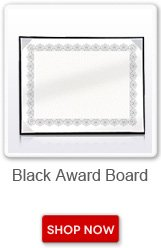 Black award board. Shop now button