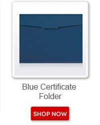 Blue Certificate Folder. Shop now button