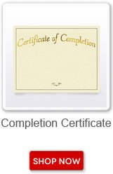 Completion certificate. Shop now button