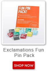 Exclamations Fun Pin Pack. Shop now button