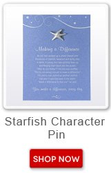 Starfish Character Pin. Shop now button