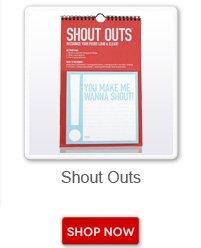Shout outs. Shop now button