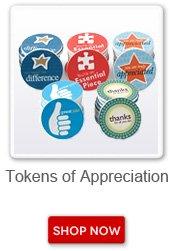 Tokens of Appreciation. Shop now button