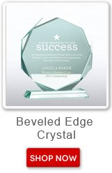 Beveled edge crystal. Shop now button