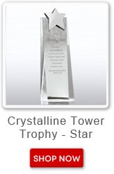 Crystalline tower trophy - star. Shop now button