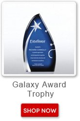Galaxy award trophy. Shop now button