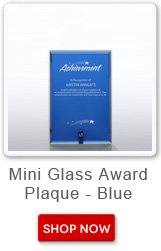 Mini glass award plaque - blue. Shop now button