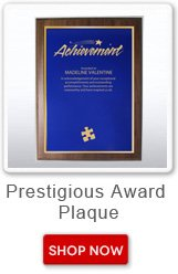 Prestigious award plaque. Shop now button