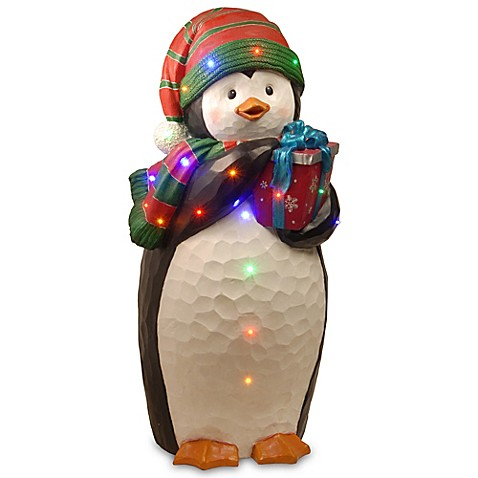 41 Inch Penguin Decoration With Color LED Lights Bed