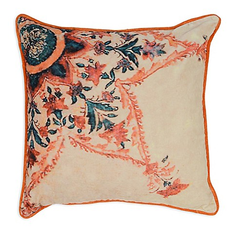 Orange Throw Pillows For Bed : Villa Home Morelia Square Throw Pillow in Beige/Orange/Teal - Bed Bath & Beyond