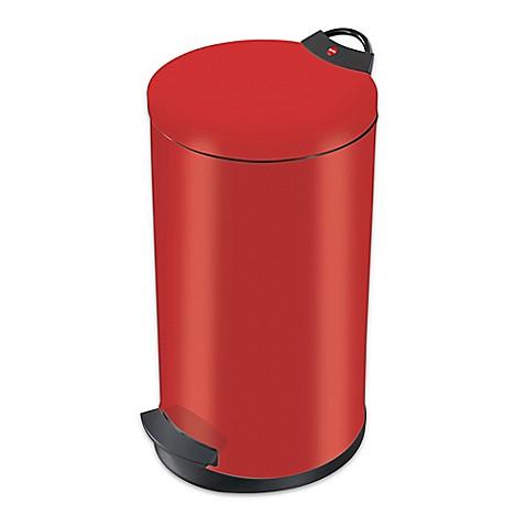 Buy round steel 20 liter waste bin in red from bed bath for Red bathroom bin