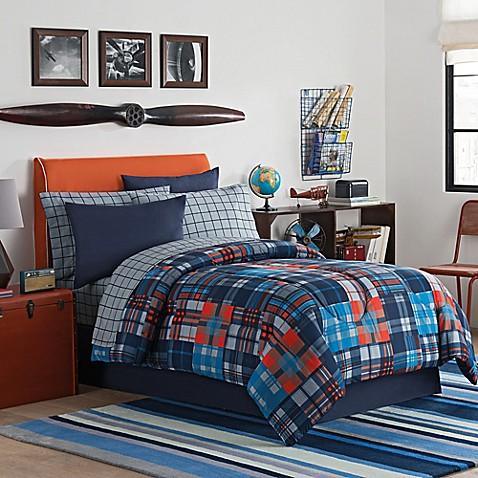 Parker comforter set in orange blue bed bath beyond - Orange and blue comforter ...