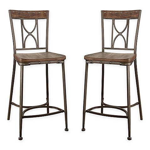 Hillsdale Paddock Counter Stools In Brushed Steel Set Of